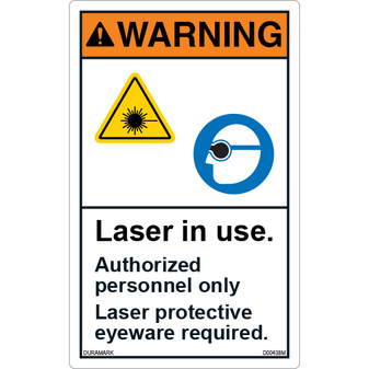 ANSI Safety Label - Warning - Laser in Use - Protective Eyeware Required - Vertical