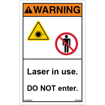 ANSI Safety Label - Warning - Laser in Use - Do Not Enter - Vertical