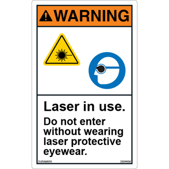 ANSI Safety Label - Warning - Laser in Use - Protective Eyeware - Vertical