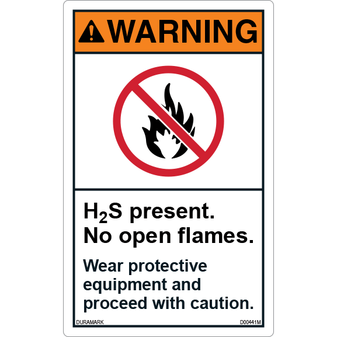 ANSI Safety Label - Warning - H2S Present - Wear Protective Equipment - Vertical
