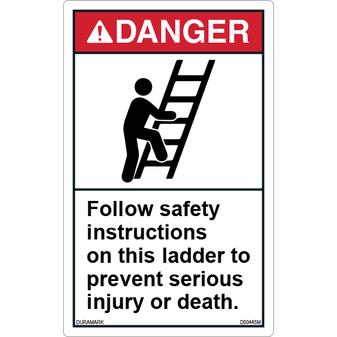 ANSI Safety Label - Danger - Ladder Safety - Follow Safety Instructions - Vertical