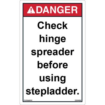 ANSI Safety Label - Warning - Ladder Safety - Check Hinge Spreader - Vertical