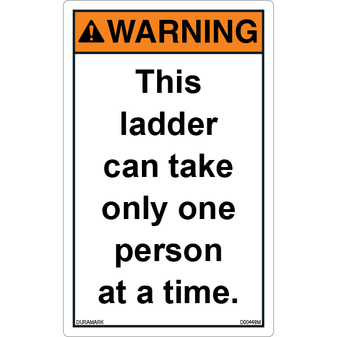 ANSI Safety Label - Warning - Ladder Safety - One Person at a Time - Vertical