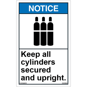 ANSI Safety Label - Notice - Keep Cylinders Secured and Upright - Vertical
