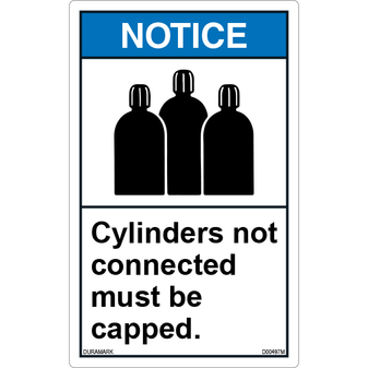 ANSI Safety Label - Notice - Cylinders Not Connected Must Be Capped - Vertical