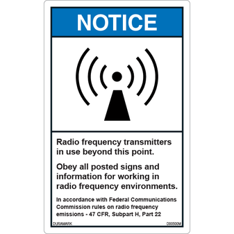 ANSI Safety Label - Notice - Radio Frequency Transmitters in Use - Vertical