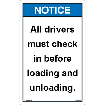 ANSI Safety Label - Notice - All Drivers Must Check In - Vertical
