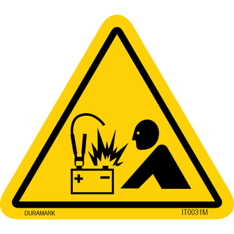 ISO safety label - Triangle - Battery Explosion - Battery and Human