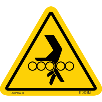 ISO safety label - Triangle - Entanglement - Roller