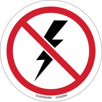 ISO safety label - Circle - Prohibited - Thunderstorm & Lightning