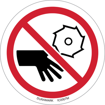 ISO safety label - Circle - Rotating Blade Keep Hands Clear