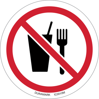 ISO safety label - Circle - Prohibited - No Food Or Drink