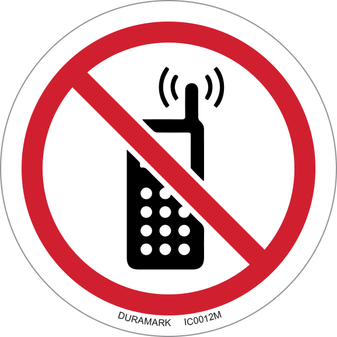 ISO safety label - Circle - Prohibited - No Activated Phones