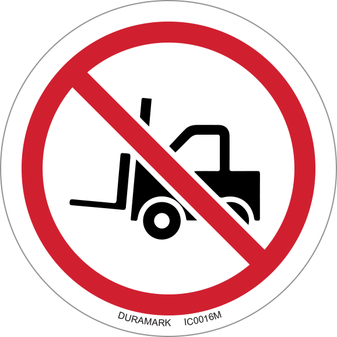 ISO safety label - Circle - Prohibited - No Forklifts/Industrial Vehicles