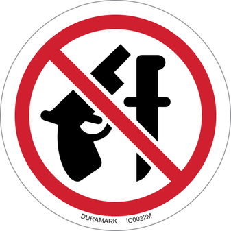 ISO safety label - Circle - Prohibited - No Weapons Allowed