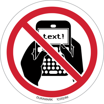 ISO safety label - Circle - Prohibited - No Texting