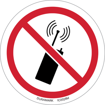 ISO safety label - Circle - Prohibited - No Mobile Phones Or Transmitters