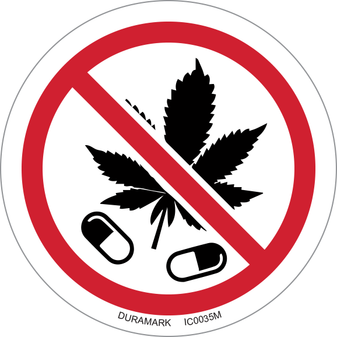 ISO safety label - Circle - Prohibited - No Drugs / No Marijuana