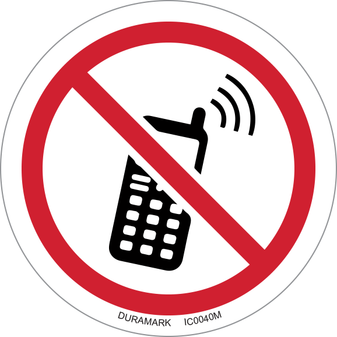 ISO safety label - Circle - Prohibited - Keep Off Cell Phones