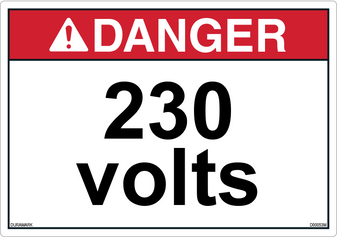 ANSI Safety Label - Danger - 230 Volts - Horizontal