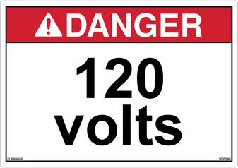 ANSI Safety Label - Danger - Electric Shock - 120 Volts - Horizontal