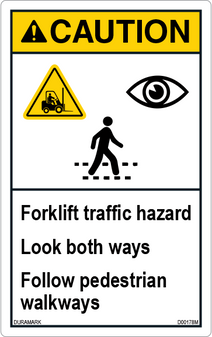 ANSI Safety Label - Caution - Forklift Traffic Hazard - Vertical