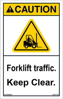 ANSI Safety Label - Caution - Forklift Traffic - Keep Clear - Caution Symbol - Vertical