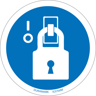 ISO safety label - Circle - Mandatory - Lock-Out In De-Energized State