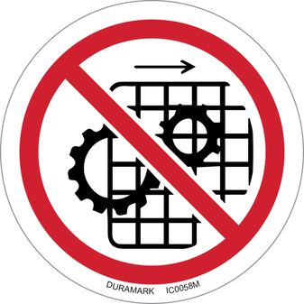 ISO safety label - Circle - Prohibited - Do Not Operate With Guard Removed Gears Beneath