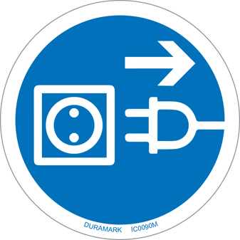 ISO safety label - Circle - Mandatory - Disconnect Mains Plug - Outlet