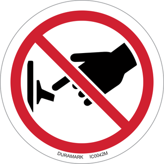 ISO safety label - Circle - Prohibited - Do Not Turn On Switch - Flip Down