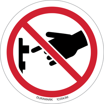 ISO safety label - Circle - Prohibited - Do Not Turn On Switch - Button Top