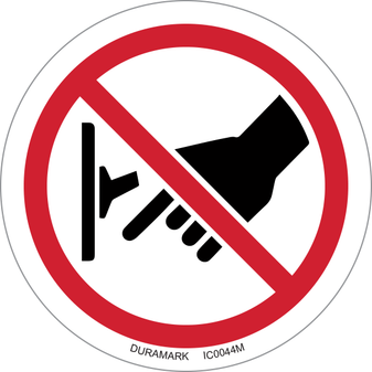 ISO safety label - Circle - Prohibited - Do Not Turn Off Switch - Flip Up