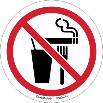 ISO safety label - Circle - Prohibited - Do Not Eat Drink Or Smoke