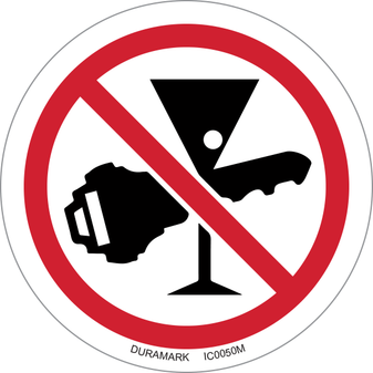 ISO safety label - Circle - Prohibited - Do Not Drink And Drive - Keys