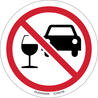 ISO safety label - Circle - Prohibited - Do Not Drink And Drive - Car