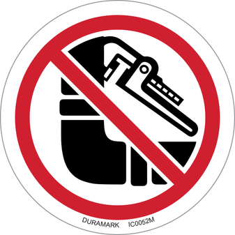 ISO safety label - Circle - Prohibited - Do Not Disturb Pipe Insulation