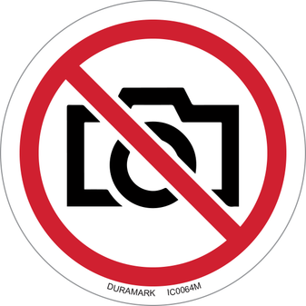 ISO safety label - Circle - Prohibited - No Photography