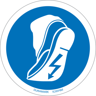 ISO safety label - Circle - Mandatory - Use Anti-Static Footwear