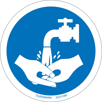 ISO safety label - Circle - Mandatory - Wash Your Hands - Faucet