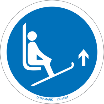 ISO safety label - Circle - Mandatory - Ski Lift Tips Up