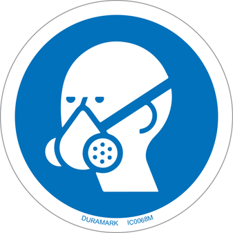 ISO safety label - Circle - Mandatory - Wear Respirator