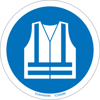 ISO safety label - Circle - Mandatory - Wear High Visibility Vest