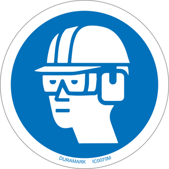 ISO safety label - Circle - Mandatory - Wear Hard Hat Chemical Goggles And Earmuffs