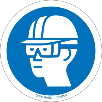 ISO safety label - Circle - Mandatory - Wear Hard Hat And Chemical Goggles