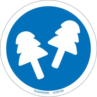 ISO safety label - Circle - Mandatory - Wear Ear Plugs