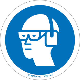 ISO safety label - Circle - Mandatory - Wear Chemical Goggles And Earmuffs