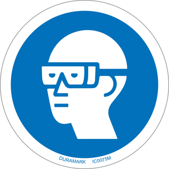 ISO safety label - Circle - Mandatory - Wear Chemical Goggles
