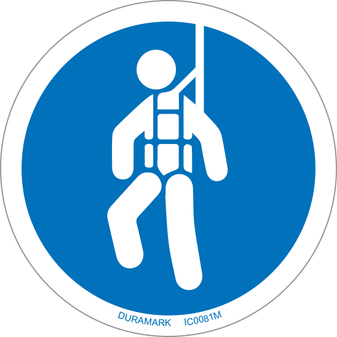 ISO safety label - Circle - Mandatory - Wear Safety Harness