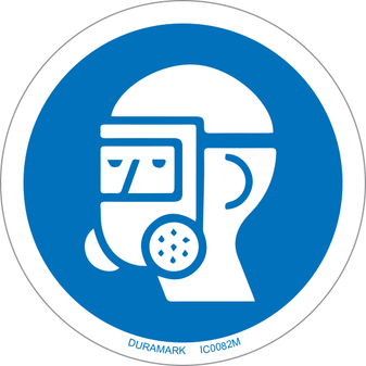 ISO safety label - Circle - Mandatory - Wear Respiratory Protection
